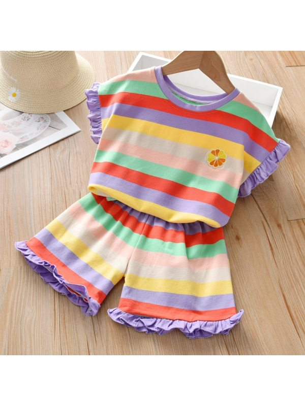 【12M-5Y】Girls Color Striped T-shirt Shorts Suit - Random Color of Neckline and Cuffs