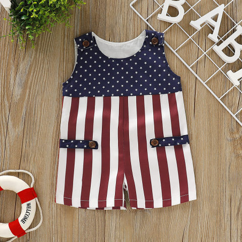 Baby Independence Day Colorblock Print Romper