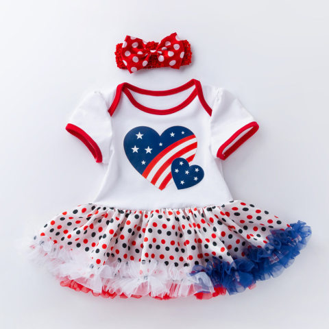 Baby Girl American Flag Hear Print Independence Day Romper