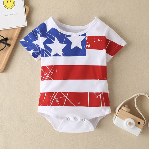 Baby American Flag Independence Day Knitted Romper
