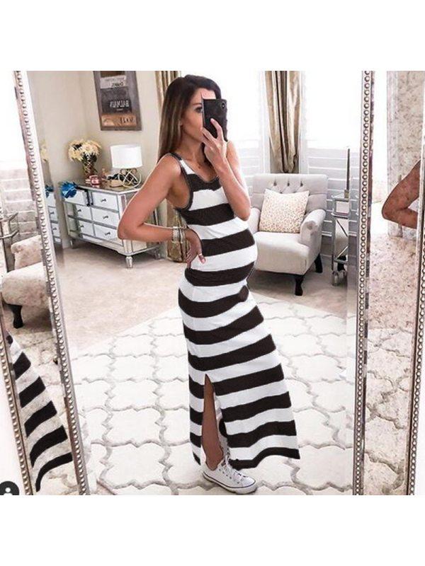 Maternity Striped Sleeveless Dress