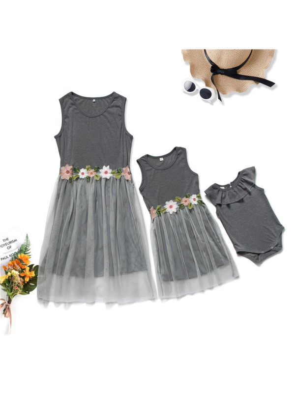 Casual Round Neck Sleeveless Flower Embroidery Mom Girl Matching Dress