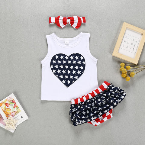 Baby Girl Independence Day Vest Shorts Set with Hairband