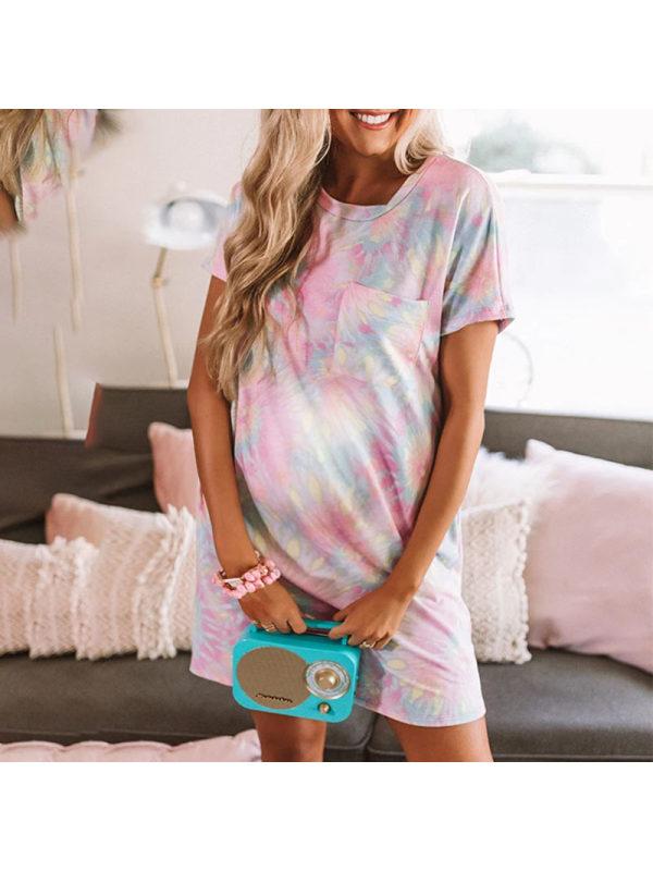 Maternity Flower Print Pink Short Dress