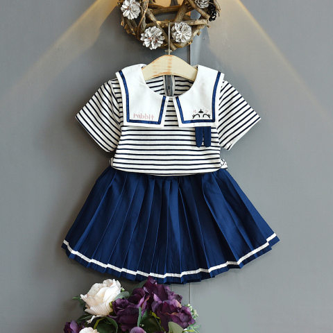 Embroidered lapel striped T shirt blue pleated skirt set