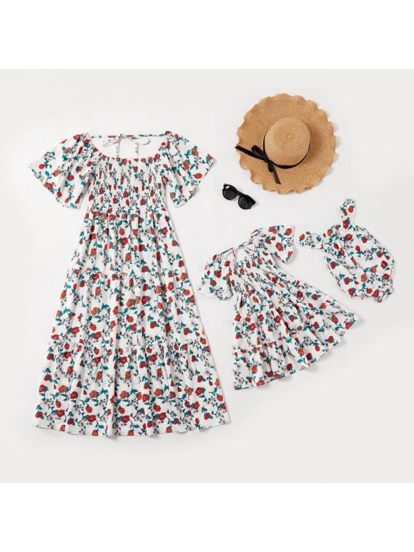 Round Neck Flower Print Mom Girl Matching Dress - 1340