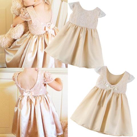 Champagne lace stitching backless bow dress