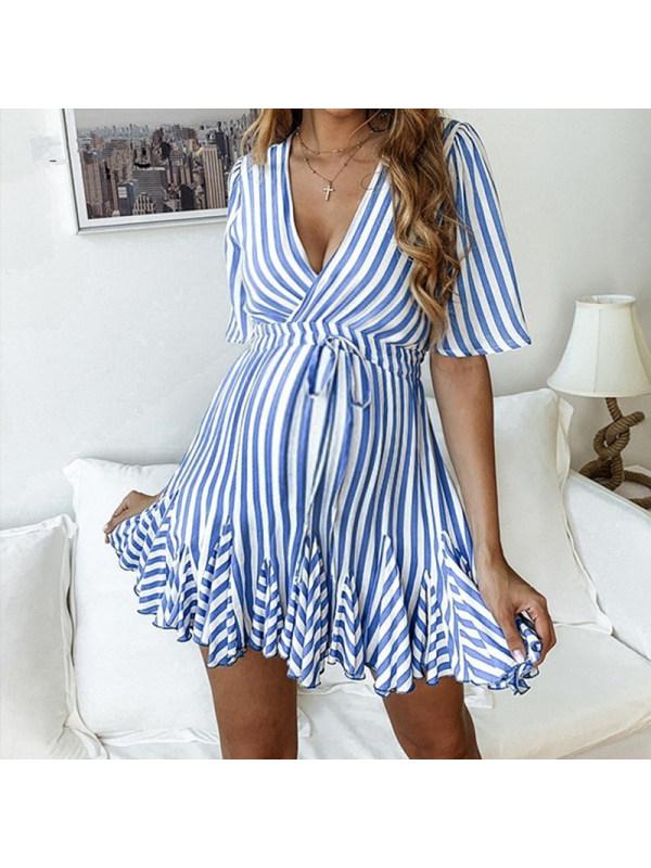 Maternity Striped V-Neck Dress