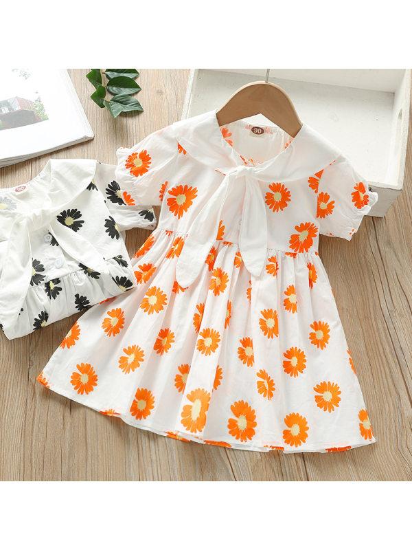 【18M-7Y】Girls Sweet Flower Lapel Short Sleeve Dress