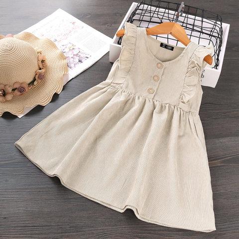 Girl corduroy sleeveless dress