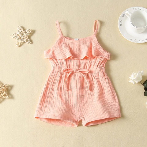 Girl cotton solid color jumpsuit