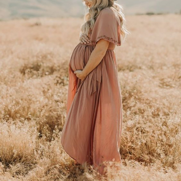 Maternity Floral Print V-neck Short Sleeve Dress