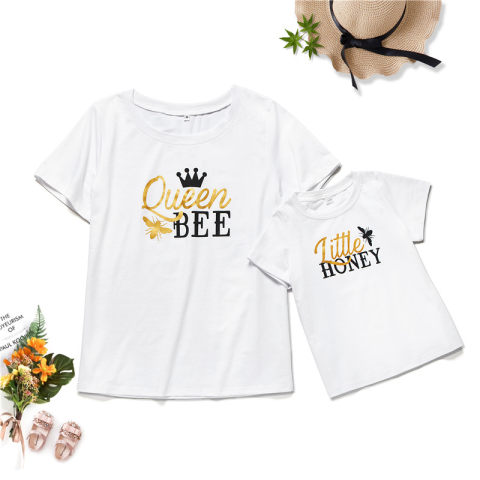 Crown printed short sleeved T shirt for mom and me