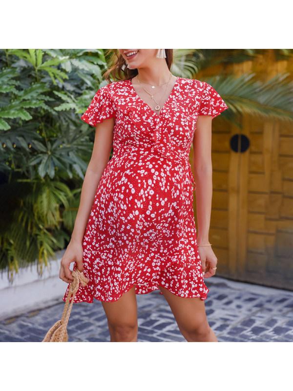 Maternity Red Floral V-Neck Dress