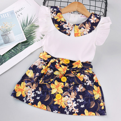 Girl flower print T shirt shorts set