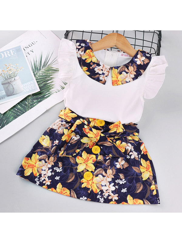 【18M-7Y】Girls Floral Short Skirt Two-piece Suit