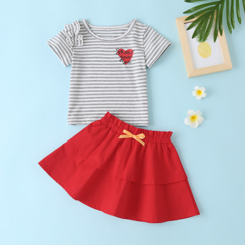 Baby Heart Print Striped T shirt And Red Skirt Set