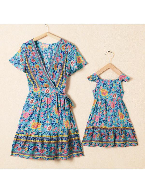 Bohemian Printed Mini Mom Girl Matching Dress