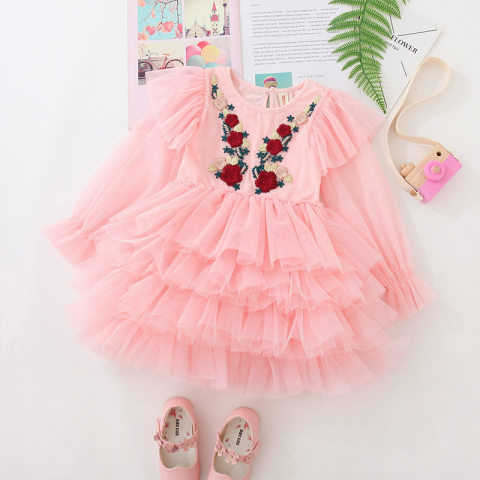 Flower embroidered pink long sleeve mesh cake dress