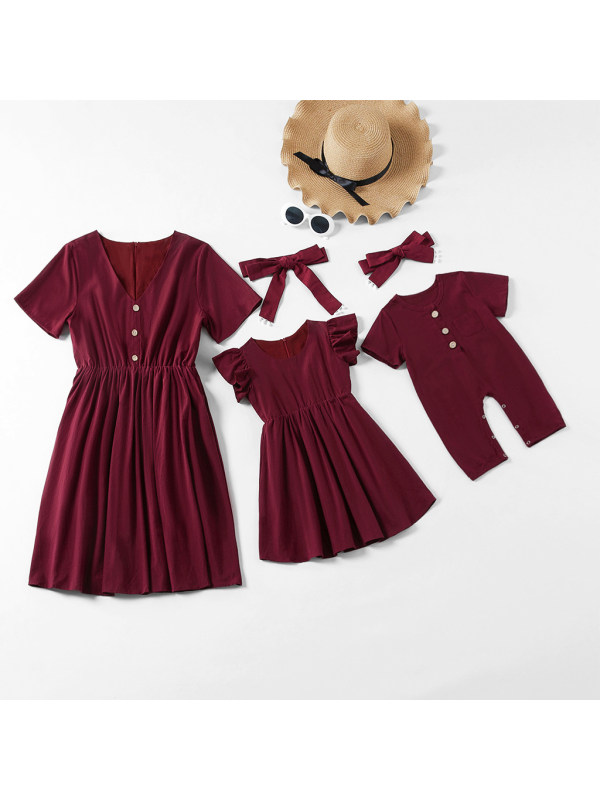 Short Sleeve Mom Wine Red Khaki And White Dress And Baby Romper - 1360