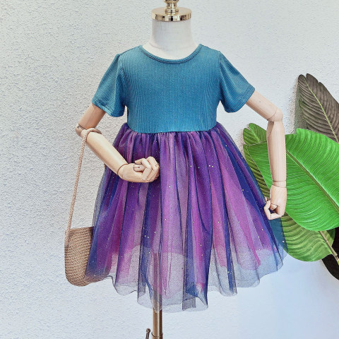 Blue knitted stitching purple mesh short sleeved dress