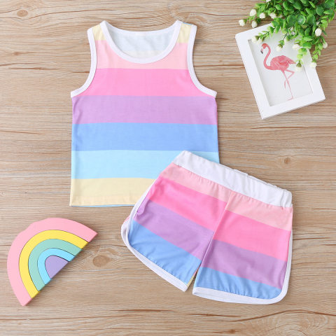 Colorful striped knitted vest and shorts casual set