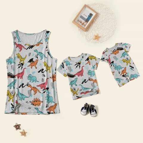 Dinosaur printed casual T shirt family matching outfits