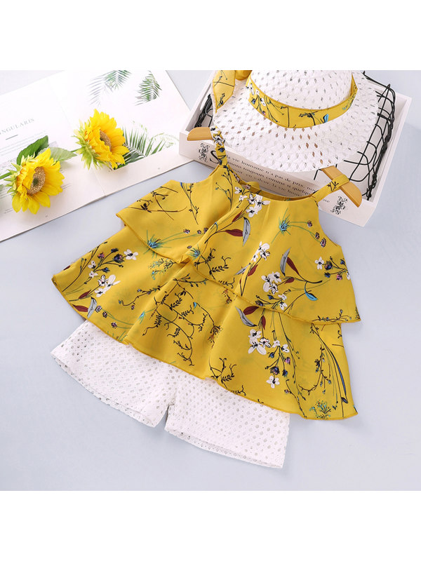 【18M-7Y】Girls Floral Print Suspender Top Solid Color Shorts Two-piece Set with Hat