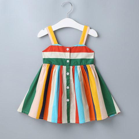 Colorful striped camisole cotton short dress