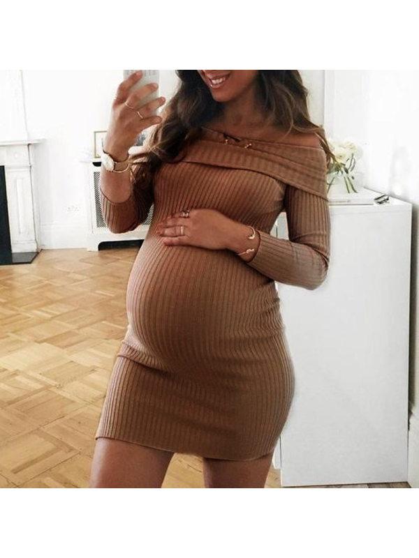 Maternity Ribbed Knit Long Sleeve Off Shoulder Short Mini Dress