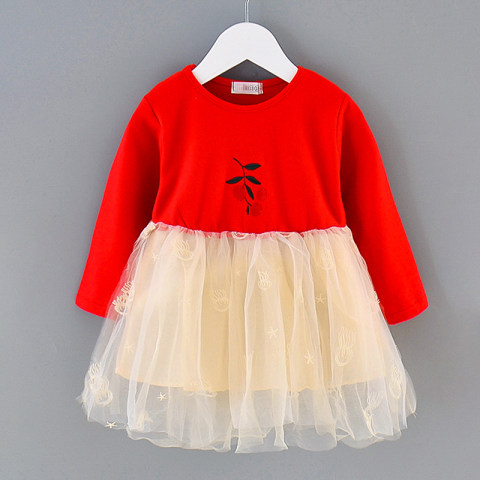 Girl cherry embroidered long sleeve dress