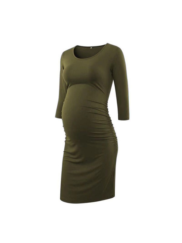Maternity Solid Color Knitted Long Sleeve Midi Dress