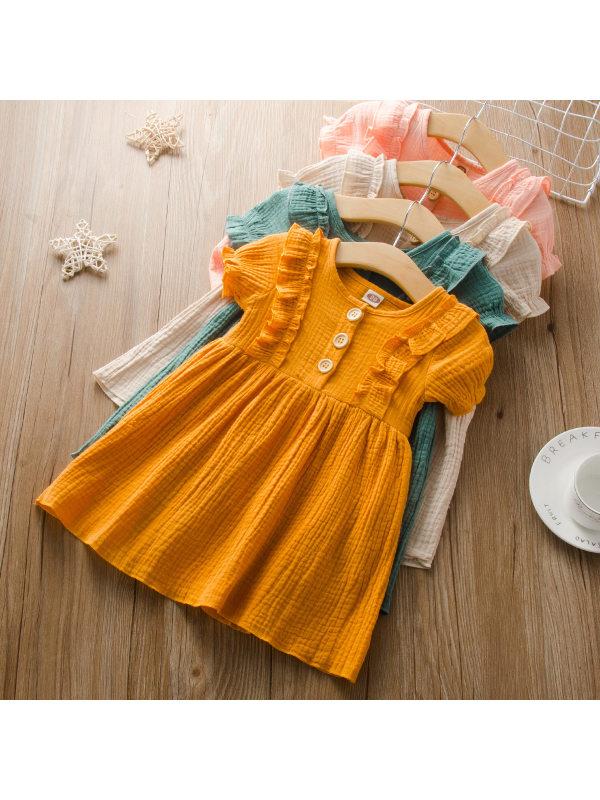 【18M-5Y】Girls Short Sleeve Button Dress