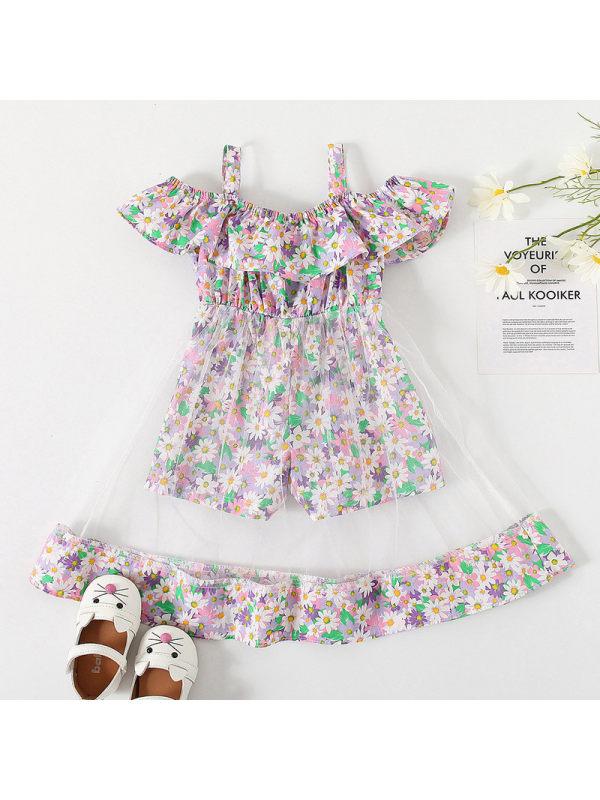 【18M-7Y】Girls Sweet Floral Cimisole Mesh Stitching Dress