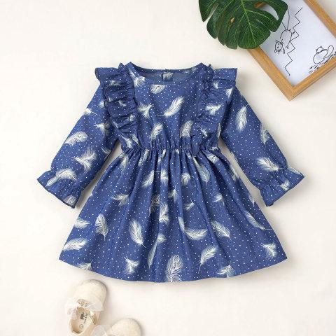 Feather Print Round Neck Long Sleeve Blue Denim Dress