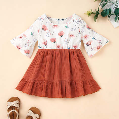 Floral Print Knitted Stitching Brown Flared Sleeve Dress