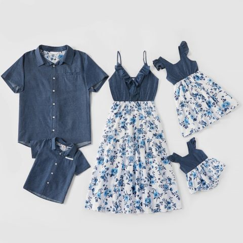 Fashion denim flower stitching family matching outfits