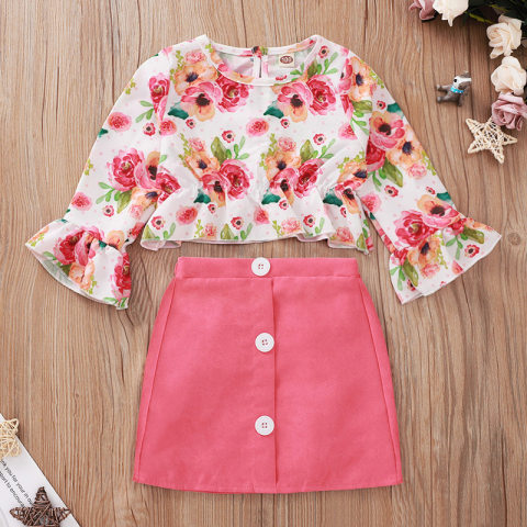 Floral Print Flared Sleeve Blouse And Pink Skirt Set