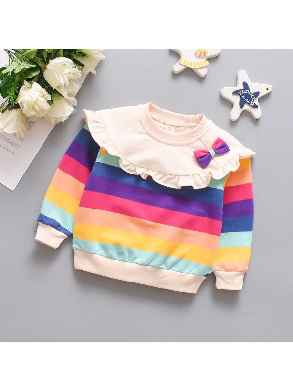 【6M-3Y】Bowknot Rainbow Striped Long Sleeve Sweatshirt