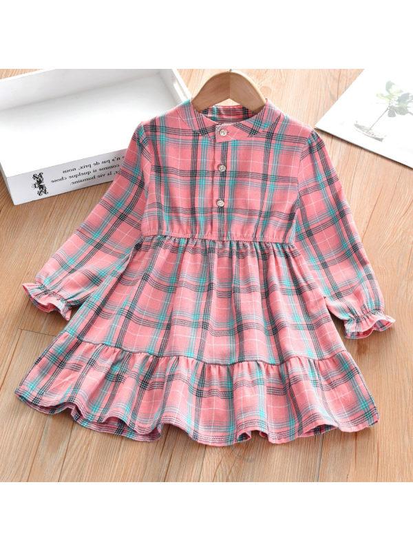 【3Y-13Y】Small Band Collar  Plaid Long Sleeved Shirt Dress