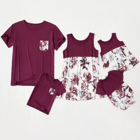 Flower pattern casual family matching outfits