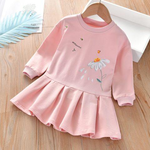 Flower Print Ruffled Long Sleeved Sweater Dress