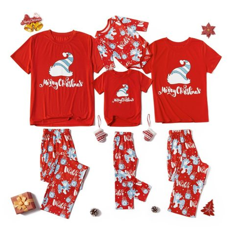 Christmas Printed Red Family Pajamas
