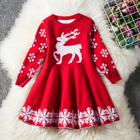 Christmas Snow And Elk Wool Knitted Long Sleeve Dress