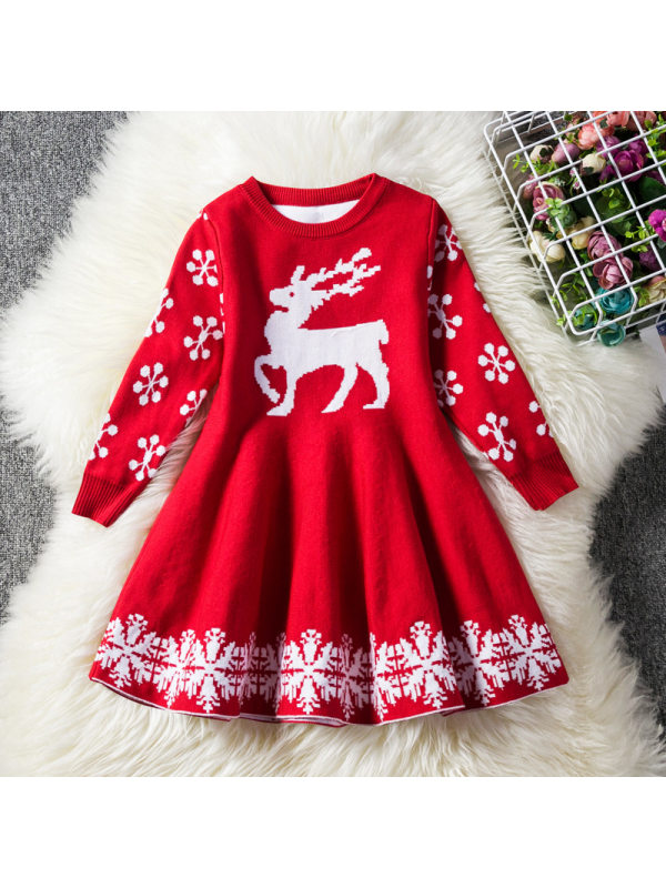 【2Y-9Y】Christmas Snow And Elk Wool Knitted Long Sleeve Dress