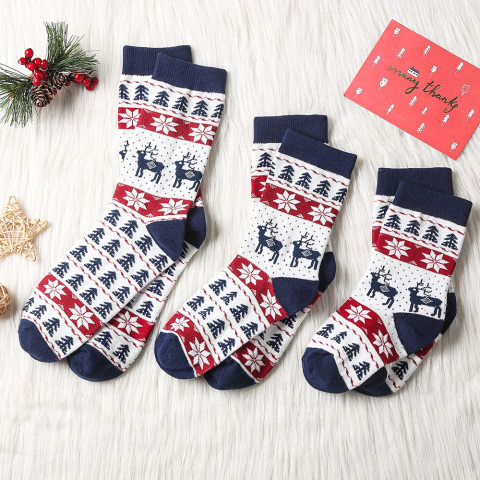 Christmas Red Plaid And Elk Family Matching Sock