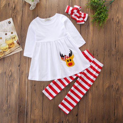 Christmas Elk Print White Dress And Striped Leggings