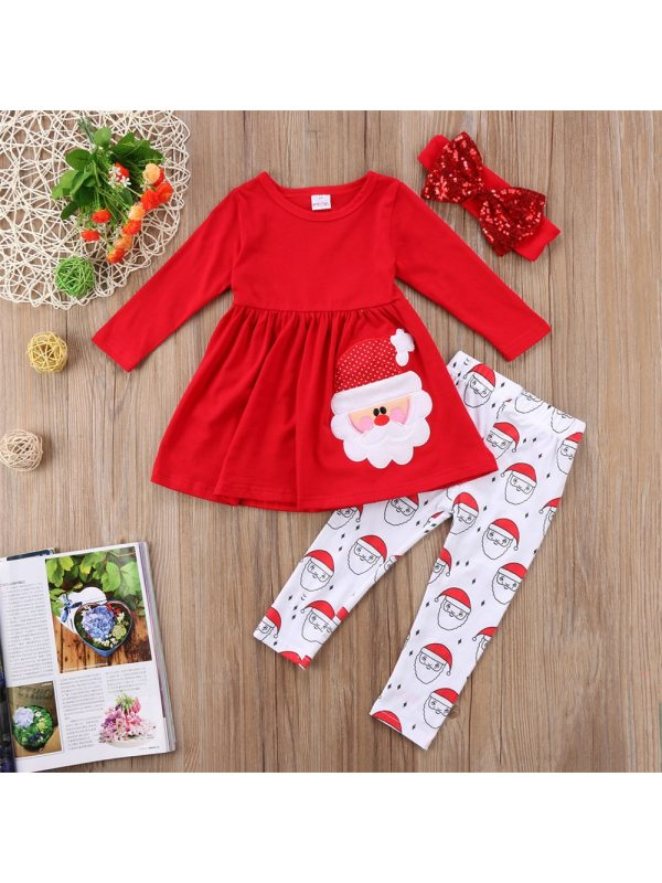 【12M-7Y】Santa Embroidered Red Long-sleeved Dress And Leggings Set