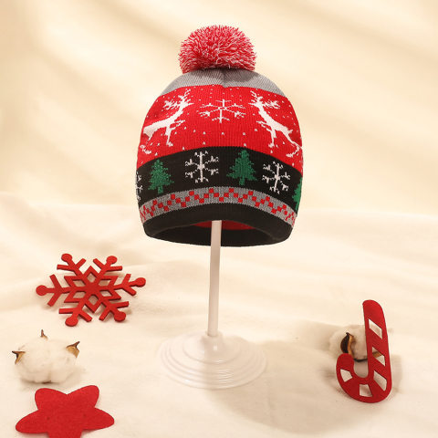Christmas Ppattern Cute Children Knitted Woolen Ball Hat