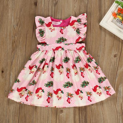 Christmas Print Little Flying Sleeve Pink Dress